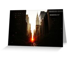 Manhattanhenge Sunset Looking Down 42nd Street Greeting Card