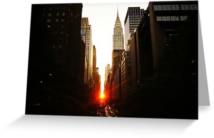 Manhattanhenge Sunset Looking Down 42nd Street by Vivienne Gucwa