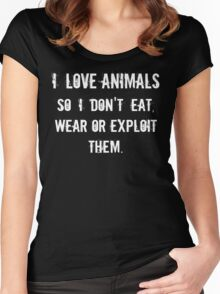 I Love Animals Women's Fitted Scoop T-Shirt