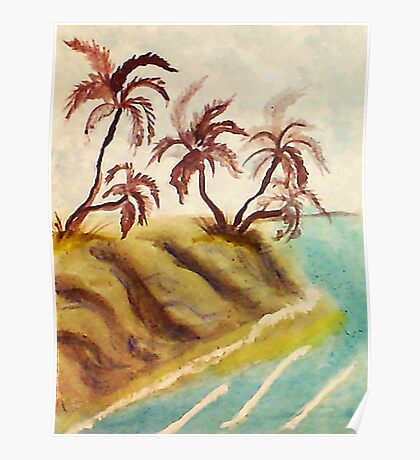 Palm trees on cliff over looking ocean, watercolor Poster