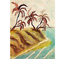 Palm trees on cliff over looking ocean, watercolor Photographic Print