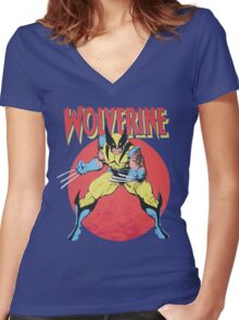 Wolverine Retro Comic Women's Fitted V-Neck T-Shirt