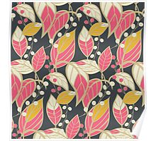Seamless floral pattern with hand drawn leaves Poster