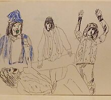 The Rolling Stones ~ Beggar's Banquet ~ 1970 Sketch by Stacey Lazarus