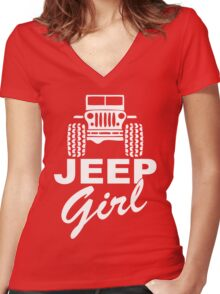 Jeep girl White Women's Fitted V-Neck T-Shirt