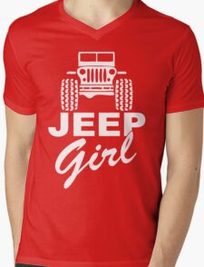 Jeep girl White Mens V-Neck T-Shirt