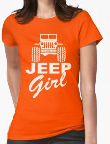 Jeep girl White Womens Fitted T-Shirt