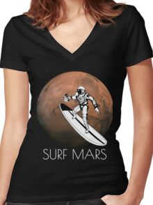 Surf Mars Women's Fitted V-Neck T-Shirt