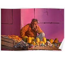 Colourful Fruit Vendor Poster