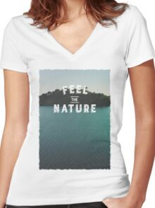 Feel The Nature Women's Fitted V-Neck T-Shirt