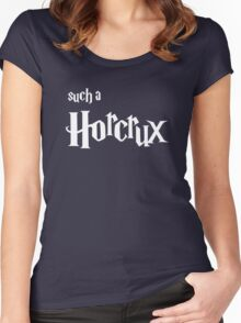 Such A Horcrux - White Text Women's Fitted Scoop T-Shirt