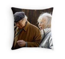 GRAN'CRAZY LONDON 6 *cawcaw* 'she has no idea ive turned my hearing aid OFF' Throw Pillow