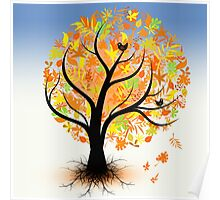 Colorful autumn tree Poster