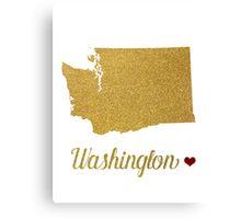 Gold Washington state map Canvas Print