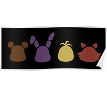 a bear, bunny, chick and a fox -black- Poster