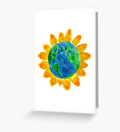 Earth Flower Watercolor  Greeting Card