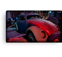 he leans against the car doors and feels the blood in his shoes Canvas Print