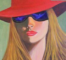 LADY IN A RED HAT by Dian Bernardo
