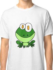 Funky Sitting Green Frog Cartoon Classic T-Shirt