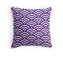 Purple Japanese Inspired Waves Shell Pattern Throw Pillow