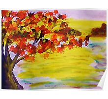 Fall leaves, watercolor Poster
