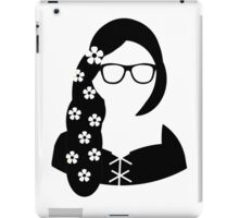 Geeky Hipster Princess Nerdy Glasses Black White Design iPad Case/Skin