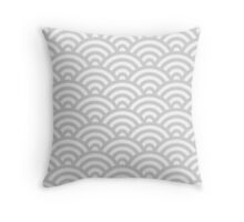 LightGrey Japanese Inspired Waves Shell Pattern Throw Pillow