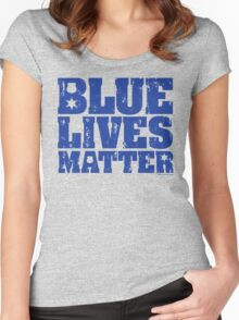 Blue Lives Matter - Distressed Women's Fitted Scoop T-Shirt
