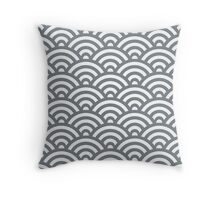 CoolGrey Japanese Inspired Waves Shell Pattern Throw Pillow