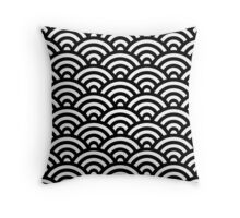 Black Japanese Inspired Waves Shell Pattern Throw Pillow