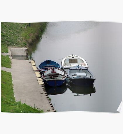 Rowing Boats on the River Aire near Leeds Poster