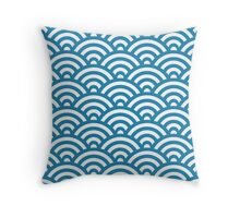 Blue Japanese Inspired Waves Shell Pattern Throw Pillow