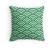 Green Japanese Inspired Waves Shell Pattern Throw Pillow