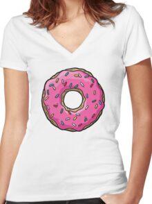 The Simpsons - Doughnut Women's Fitted V-Neck T-Shirt