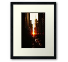 Manhattanhenge Sunset Midtown New York City Framed Print