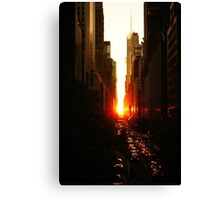 Manhattanhenge Sunset Midtown New York City Canvas Print