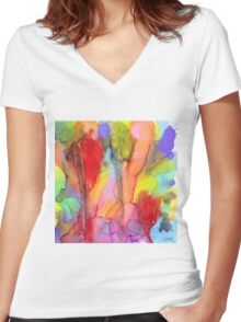 2 Art Abstract Watercolor Modern Prints by Robert R (Erod Art) Women's Fitted V-Neck T-Shirt