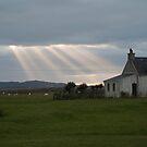 Crepuscular rays - Tiree, Scotland by laurawhitaker