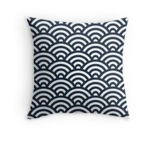 Navy Japanese Inspired Waves Shell Pattern Throw Pillow