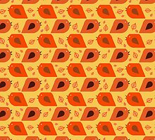 Fall Bird and Leaf Pattern by SaradaBoru