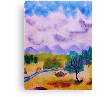 Billowy clouds over the valley, watercolor Canvas Print