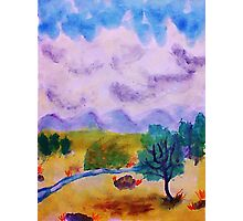 Billowy clouds over the valley, watercolor Photographic Print