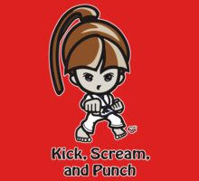 Martial Arts/Karate Girl - Front punch - Kick, Punch, Scream One Piece - Short Sleeve