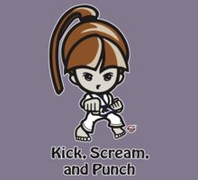 Martial Arts/Karate Girl - Front punch - Kick, Punch, Scream Kids Tee