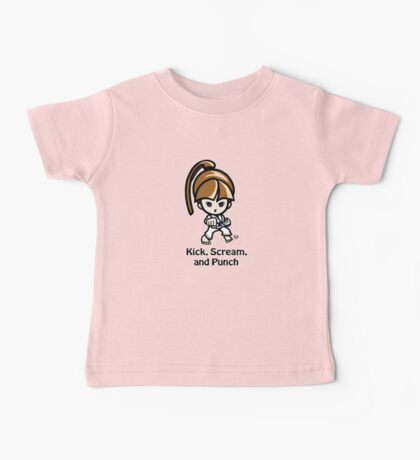 Martial Arts/Karate Girl - Front punch - Kick, Punch, Scream Baby Tee
