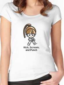 Martial Arts/Karate Girl - Front punch - Kick, Punch, Scream Women's Fitted Scoop T-Shirt