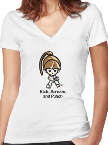 Martial Arts/Karate Girl - Front punch - Kick, Punch, Scream Women's Fitted V-Neck T-Shirt