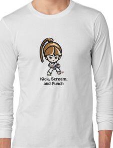 Martial Arts/Karate Girl - Front punch - Kick, Punch, Scream Long Sleeve T-Shirt