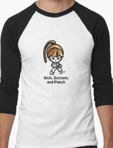 Martial Arts/Karate Girl - Front punch - Kick, Punch, Scream Men's Baseball ¾ T-Shirt