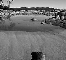 Binalong Bay rocks and beach by Roger Neal
